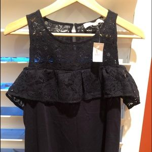 New Ann Taylor Cotton + Lace top - Navy